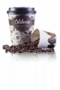 Bedrukte koffiebekers 12 en 4 oz